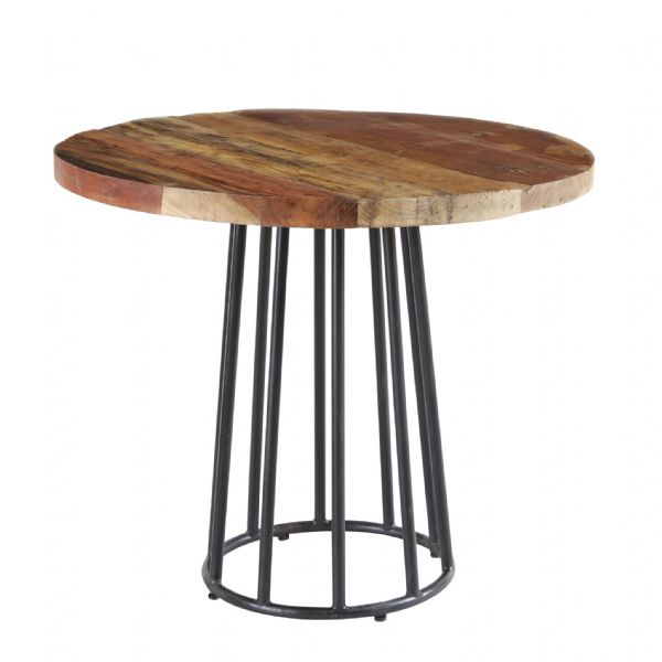 Shoreline Round Dining Table | Reclaimed wood round dining table with metal pedestal.